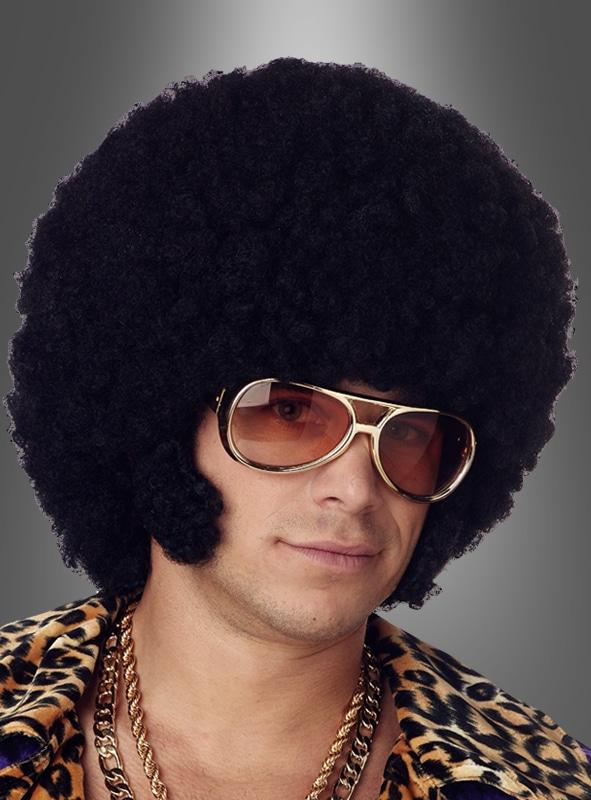 70er Jahre Afro Frisur in Schwarz mit Koteletten – so beeindruckt man auf einer 70er Jahre Mottoparty