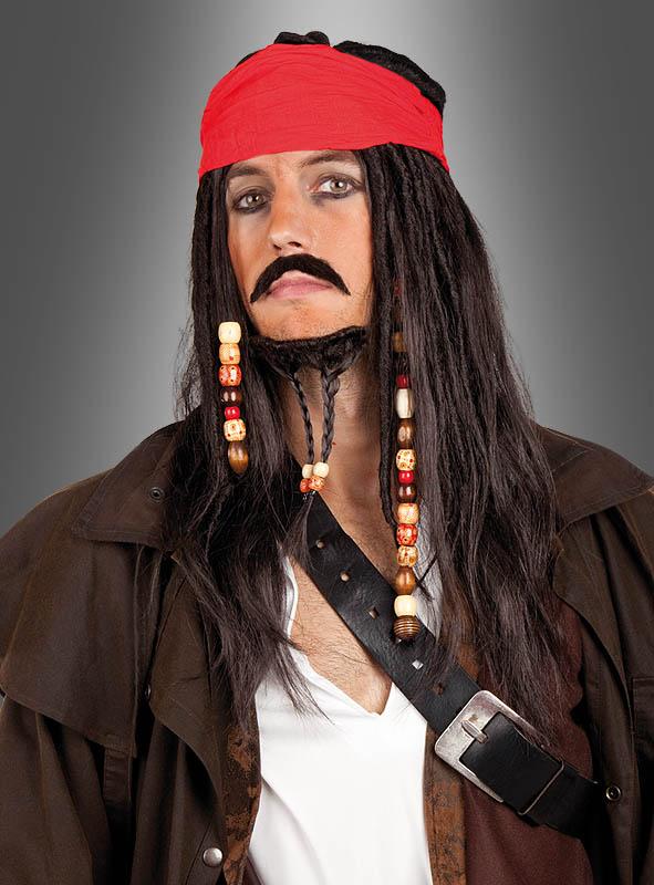 Piratenperücke mit Bart - Aussehen wie Capt. Jack Sparrow aus Fluch der Karibik