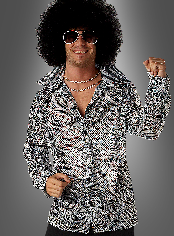 Glitzer Disco Hemd mit Afro-Perücke