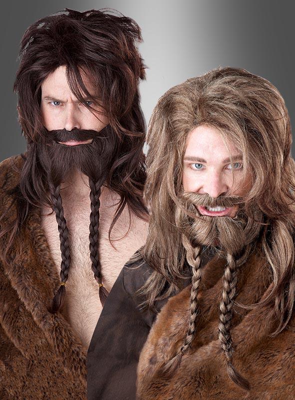 Wikinger Perücke und Bart braun