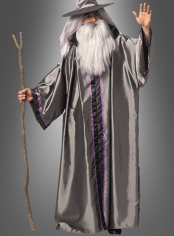 Silberner Zauberer mit Bart und Perücke
